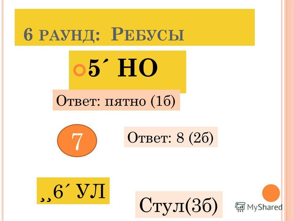 6 РАУНД : Р ЕБУСЫ 5´ НО Ответ: пятно (1б) 7 Ответ: 8 (2б) Стул(3б)