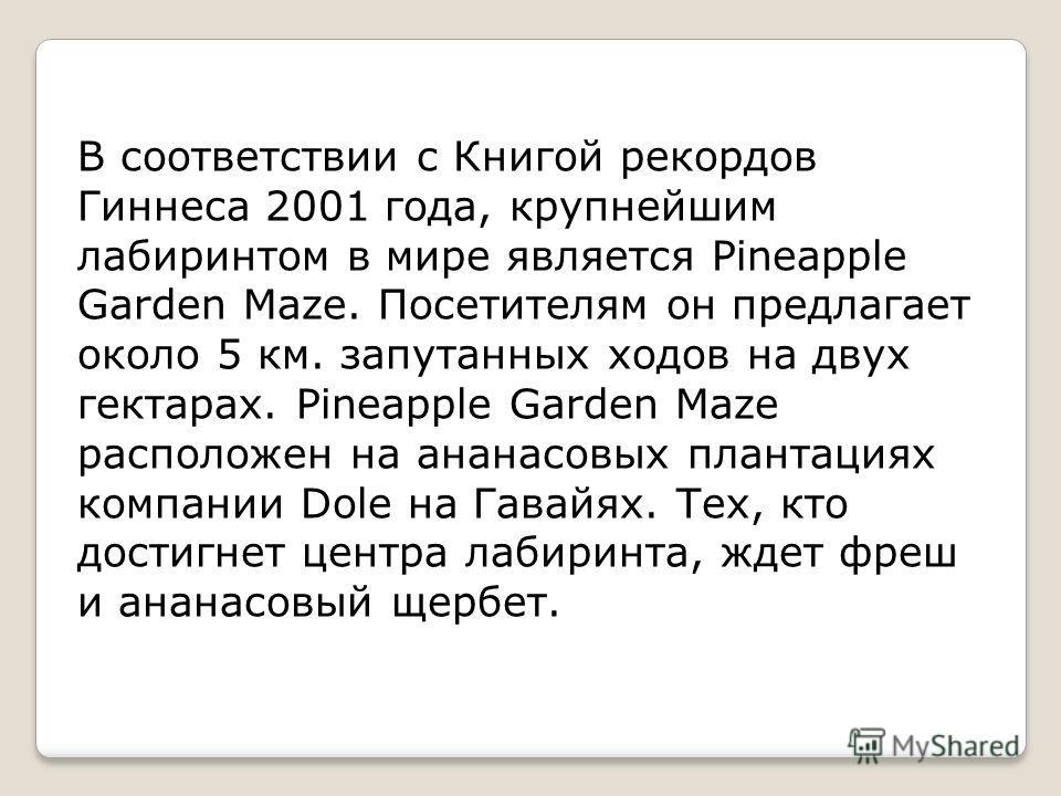 В соответствии с Книгой рекордов Гиннеса 2001 года, крупнейшим лабиринтом в мире является Pineapple Garden Maze. Посетителям он предлагает около 5 км. запутанных ходов на двух гектарах. Pineapple Garden Maze расположен на ананасовых плантациях компан