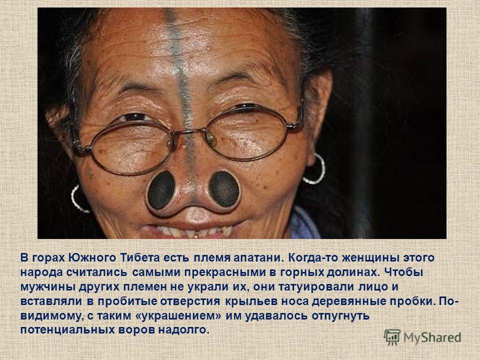 В горах Южного Тибета есть племя апатани. Когда-то женщины этого народа считались самыми прекрасными в горных долинах. Чтобы мужчины других племен не украли их, они татуировали лицо и вставляли в пробитые отверстия крыльев носа деревянные пробки. По-