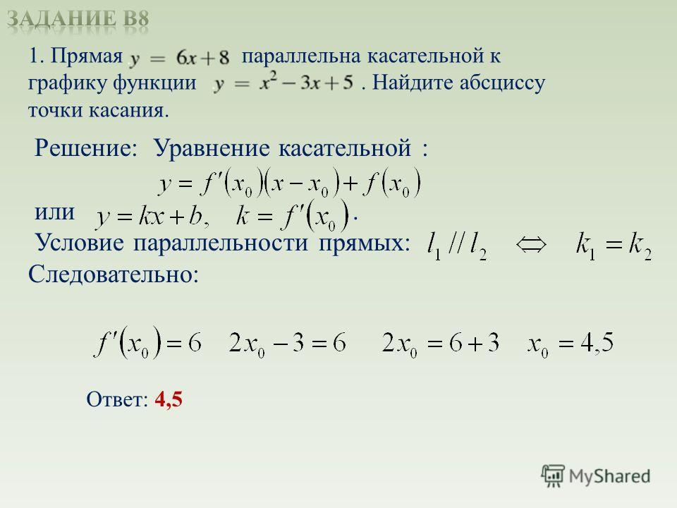 1. Прямая параллельна касательной к графику функции. Найдите абсциссу точки касания. Решение: Уравнение касательной : или. Условие параллельности прямых: Следовательно: Ответ: 4,5