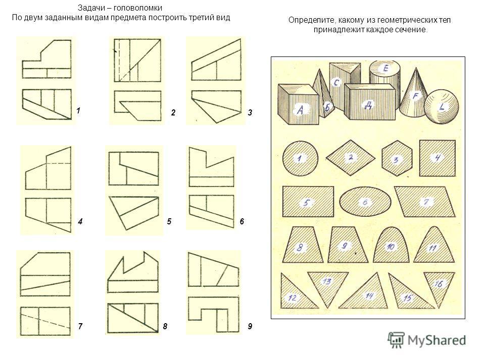 8 1 23 456 79 Задачи – головоломки По двум заданным видам предмета построить третий вид Определите, какому из геометрических тел принадлежит каждое сечение.
