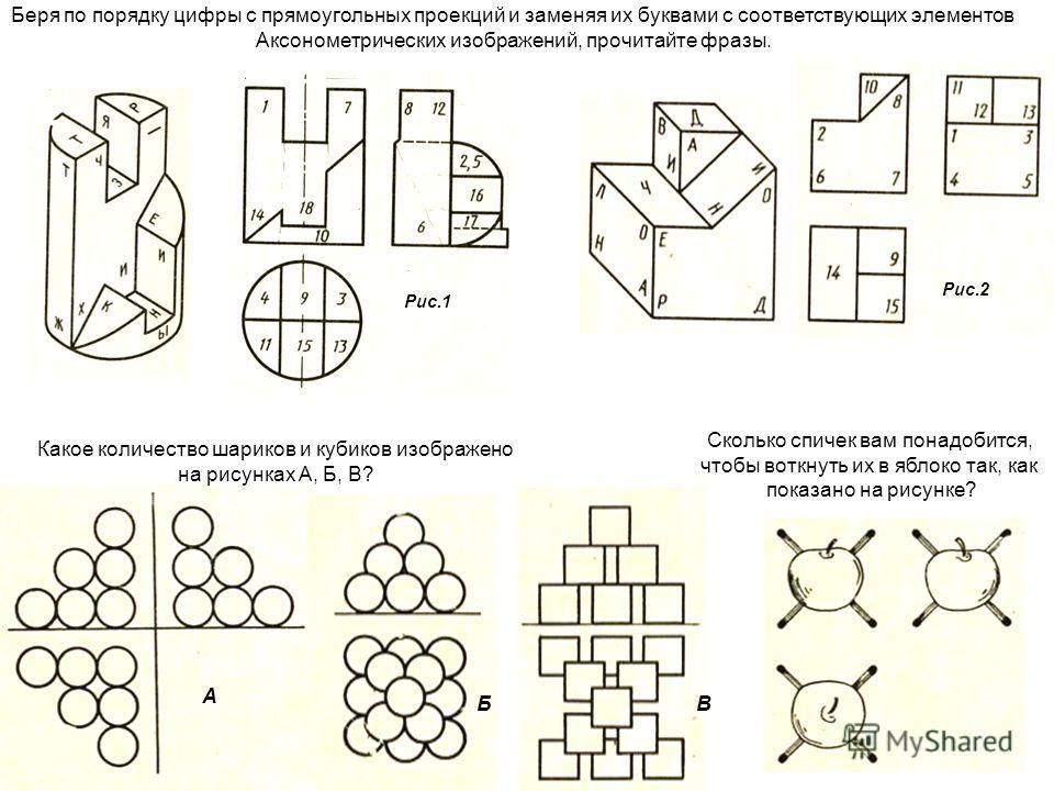 Рис.1 Рис.2 Беря по порядку цифры с прямоугольных проекций и заменяя их буквами с соответствующих элементов Аксонометрических изображений, прочитайте фразы. А БВ Какое количество шариков и кубиков изображено на рисунках А, Б, В? Сколько спичек вам по