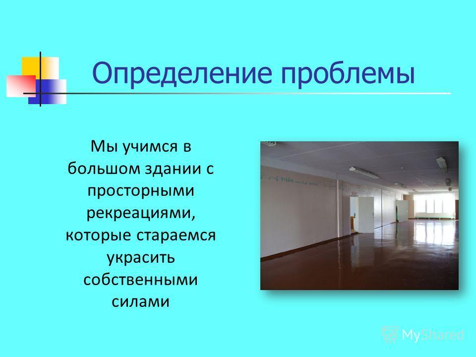 Определение проблемы Мы учимся в большом здании с просторными рекреациями, которые стараемся украсить собственными силами