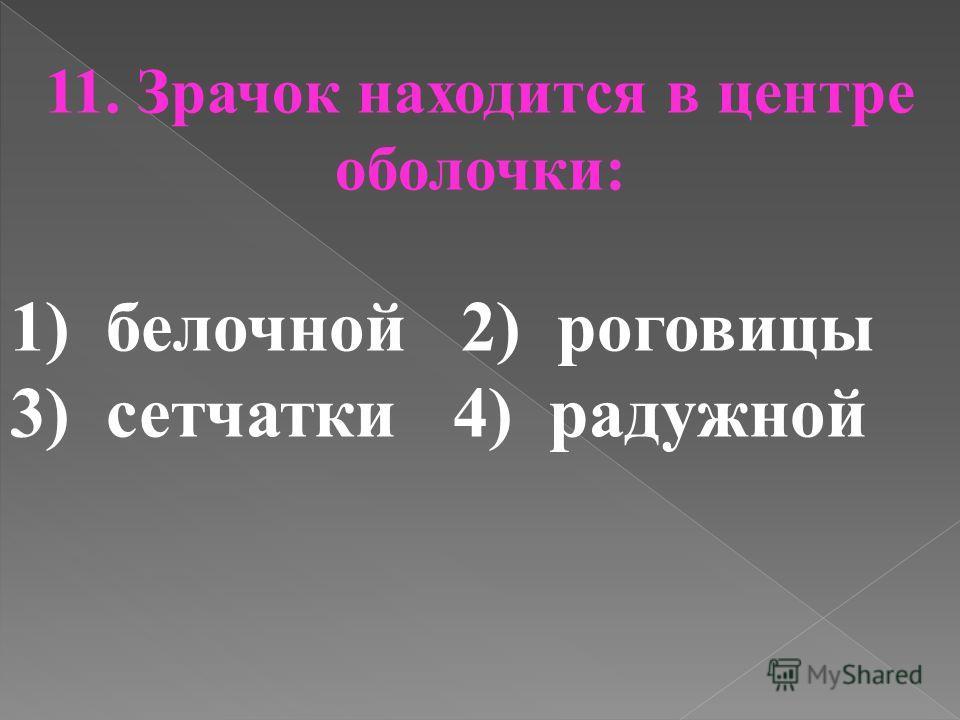 11. Зрачок находится в центре оболочки: 1)белочной 2) роговицы 3) сетчатки 4) радужной