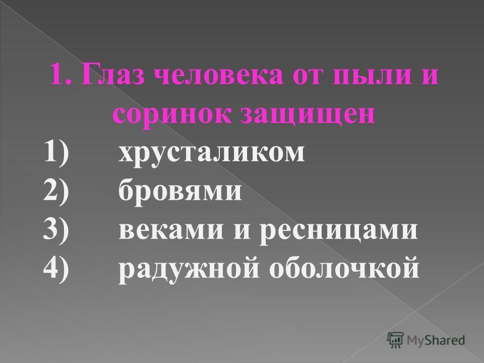 1. Глаз человека от пыли и соринок защищен 1) хрусталиком 2) бровями 3) веками и ресницами 4) радужной оболочкой