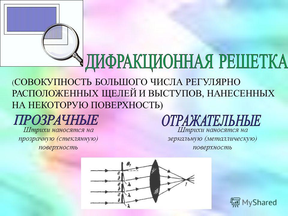 ( СОВОКУПНОСТЬ БОЛЬШОГО ЧИСЛА РЕГУЛЯРНО РАСПОЛОЖЕННЫХ ЩЕЛЕЙ И ВЫСТУПОВ, НАНЕСЕННЫХ НА НЕКОТОРУЮ ПОВЕРХНОСТЬ). Штрихи наносятся на зеркальную (металлическую) поверхность Штрихи наносятся на прозрачную (стеклянную) поверхность