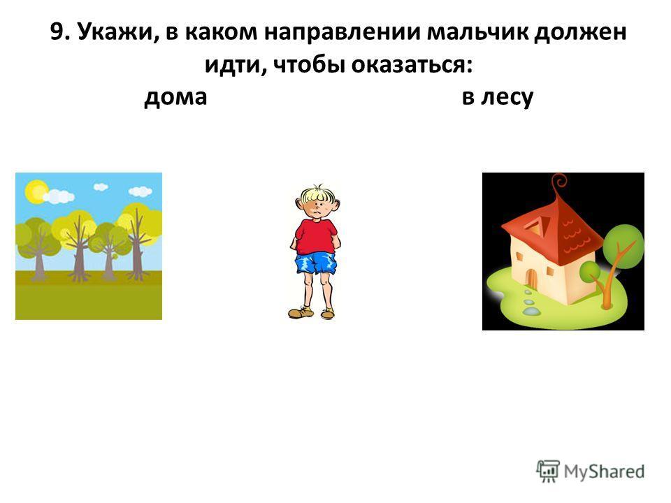 9. Укажи, в каком направлении мальчик должен идти, чтобы оказаться: дома в лесу