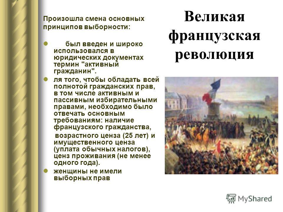 Великая французская революция Произошла смена основных принципов выборности: был введен и широко использовался в юридических документах термин