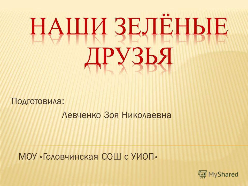 Подготовила: Левченко Зоя Николаевна МОУ «Головчинская СОШ с УИОП»