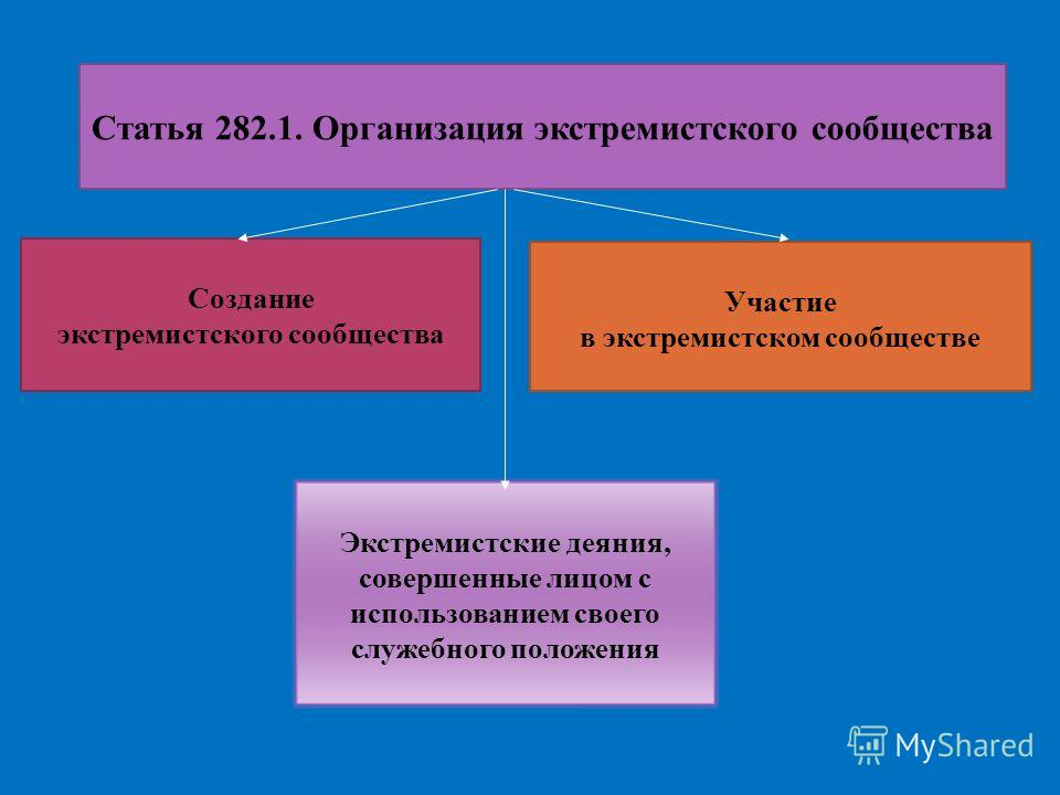 Статья 282.1. Организация экстремистского сообщества Создание экстремистского сообщества Участие в экстремистском сообществе Экстремистские деяния, совершенные лицом с использованием своего служебного положения