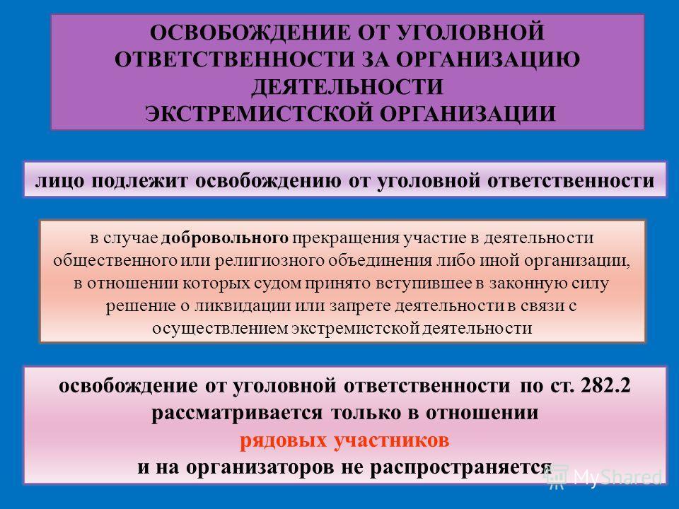 ОСВОБОЖДЕНИЕ ОТ УГОЛОВНОЙ ОТВЕТСТВЕННОСТИ ЗА ОРГАНИЗАЦИЮ ДЕЯТЕЛЬНОСТИ ЭКСТРЕМИСТСКОЙ ОРГАНИЗАЦИИ лицо подлежит освобождению от уголовной ответственности в случае добровольного прекращения участие в деятельности общественного или религиозного объедине