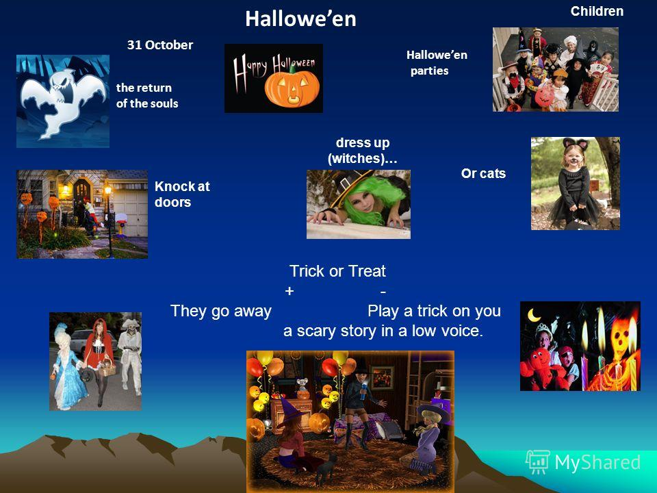 Halloween 31 October the return of the souls Halloween parties Trick or Treat + - They go away Play a trick on you a scary story in a low voice. dress up (witches)… Or cats Knock at doors Children