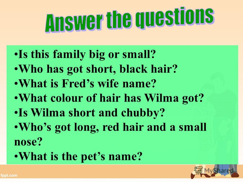 Is this family big or small? Who has got short, black hair? What is Freds wife name? What colour of hair has Wilma got? Is Wilma short and chubby? Whos got long, red hair and a small nose? What is the pets name?