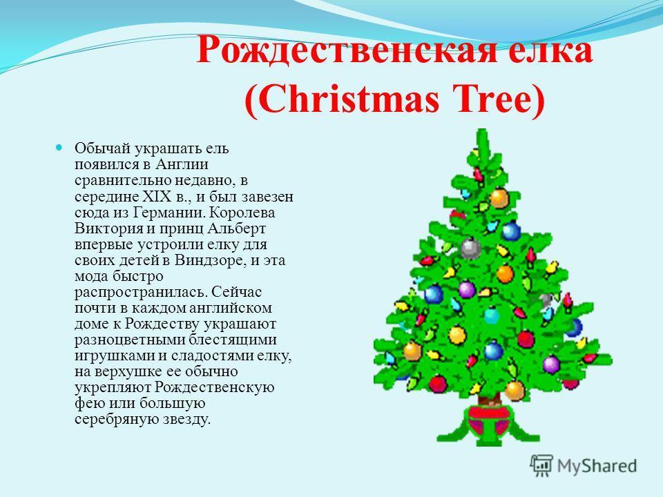 Рождественская елка (Christmas Tree) Обычай украшать ель появился в Англии сравнительно недавно, в середине XIX в., и был завезен сюда из Германии. Королева Виктория и принц Альберт впервые устроили елку для своих детей в Виндзоре, и эта мода быстро