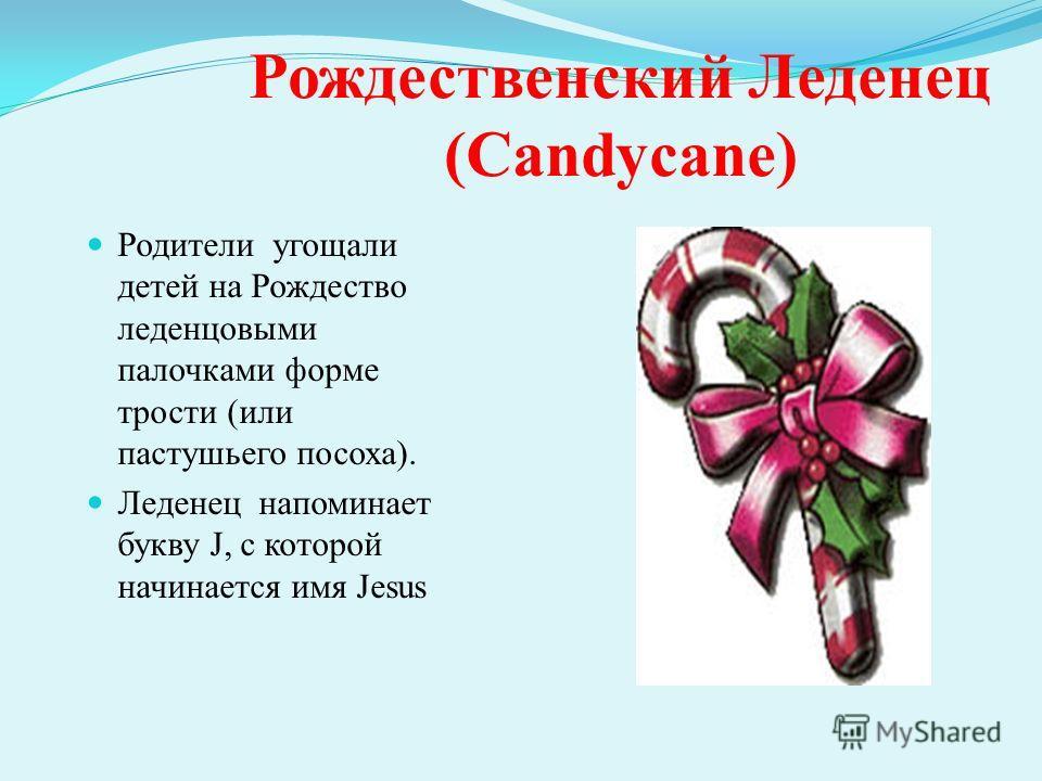 Рождественский Леденец (Candycane) Родители угощали детей на Рождество леденцовыми палочками форме трости (или пастушьего посоха). Леденец напоминает букву J, с которой начинается имя Jesus