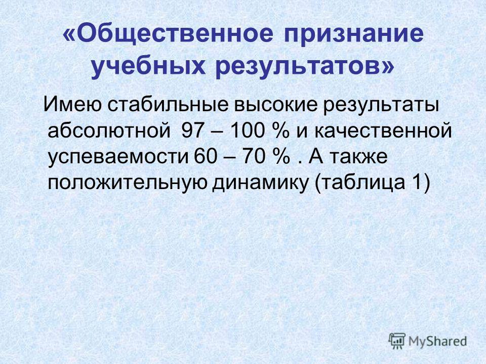 Имею стабильные высокие результаты абсолютной 97 – 100 % и качественной успеваемости 60 – 70 %. А также положительную динамику (таблица 1)