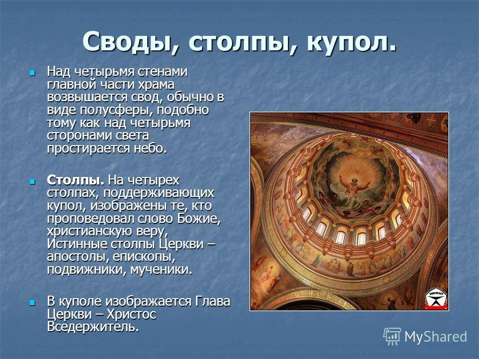 Своды, столпы, купол. Над четырьмя стенами главной части храма возвышается свод, обычно в виде полусферы, подобно тому как над четырьмя сторонами света простирается небо. Над четырьмя стенами главной части храма возвышается свод, обычно в виде полусф