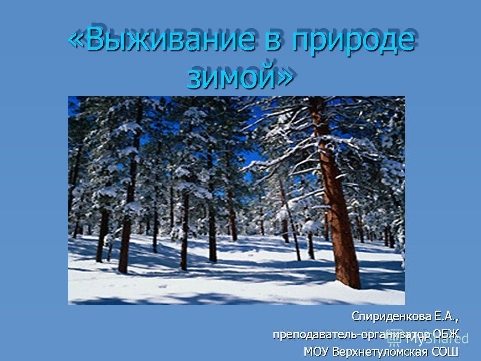 «Выживание в природе зимой» Спириденкова Е.А., Спириденкова Е.А., преподаватель-организатор ОБЖ МОУ Верхнетуломская СОШ