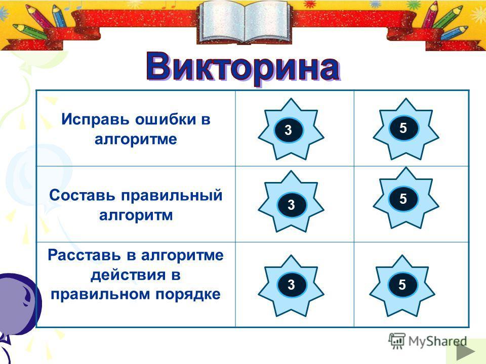 Исправь ошибки в алгоритме Составь правильный алгоритм Расставь в алгоритме действия в правильном порядке 3 3 3 5 5 5