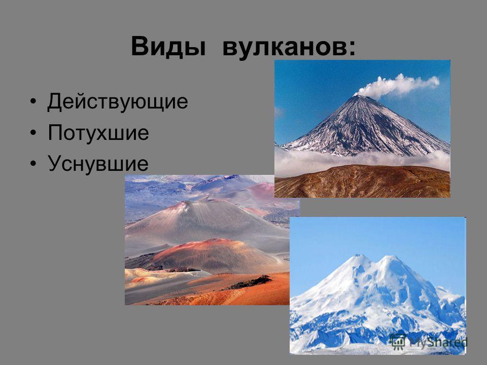 Виды вулканов: Действующие Потухшие Уснувшие