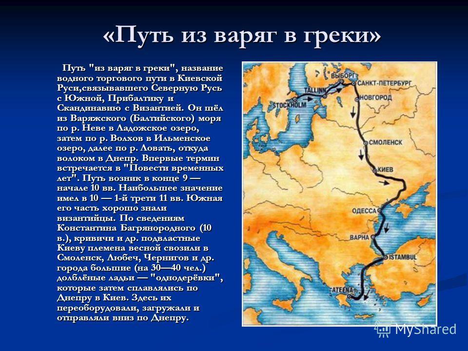 «Путь из варяг в греки» Путь