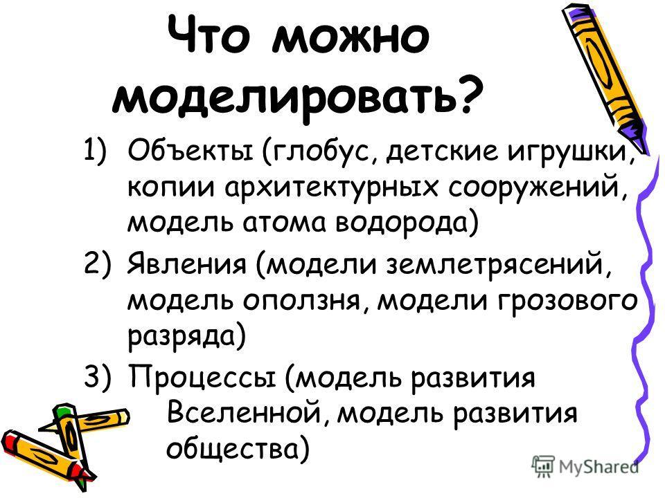 Что можно моделировать? 1)Объекты (глобус, детские игрушки, копии архитектурных сооружений, модель атома водорода) 2)Явления (модели землетрясений, модель оползня, модели грозового разряда) 3)Процессы (модель развития ппВселенной, модель развития ппо