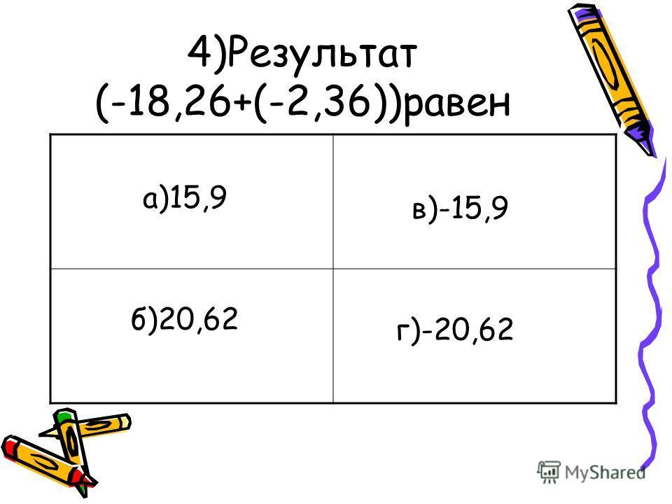 4)Результат (-18,26+(-2,36))равен а)15,9 б)20,62 в)-15,9 г)-20,62