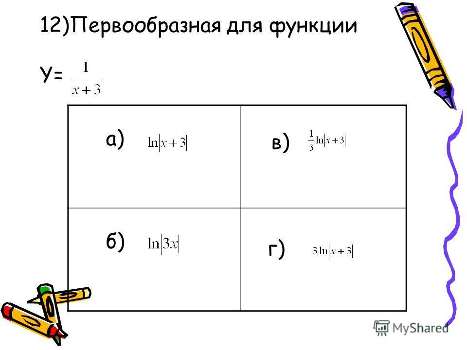 12)Первообразная для функции Y= a) б)б) в)в) г)г)