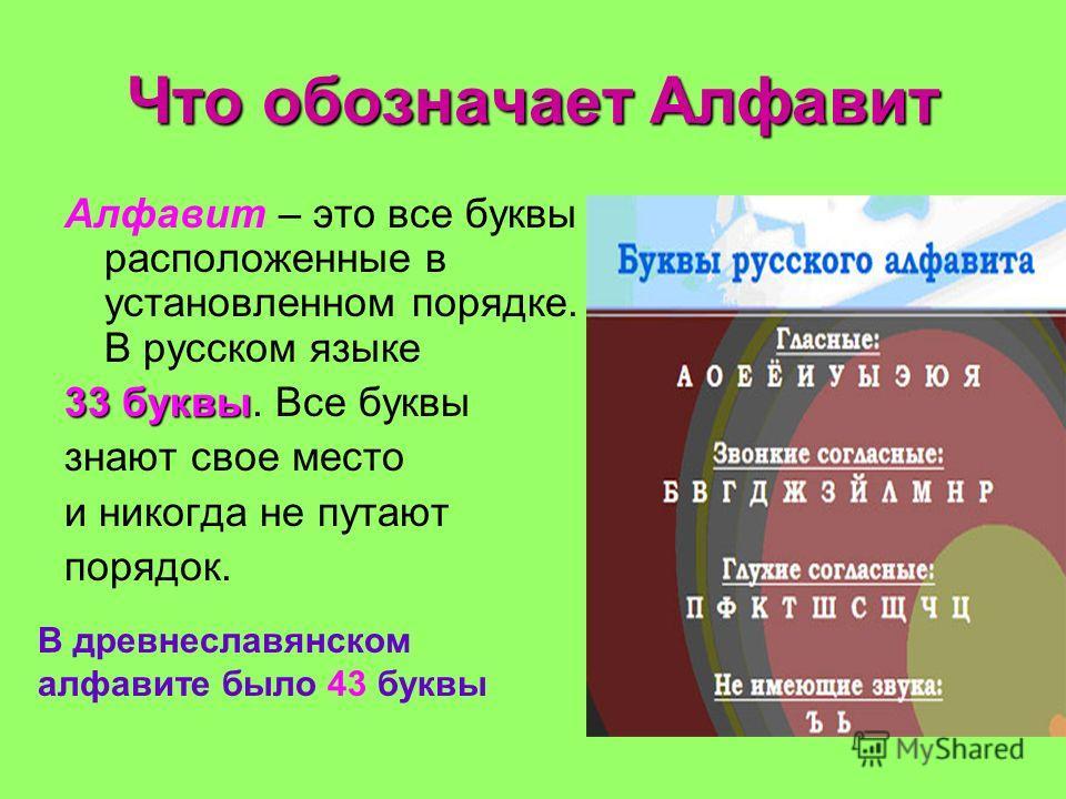 Что обозначает Алфавит Алфавит – это все буквы расположенные в установленном порядке. В русском языке 33 буквы 33 буквы. Все буквы знают свое место и никогда не путают порядок. В древнеславянском алфавите было 43 буквы