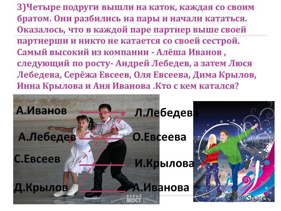 3) Четыре подруги вышли на каток, каждая со своим братом. Они разбились на пары и начали кататься. Оказалось, что в каждой паре партнер выше своей партнерши и никто не катается со своей сестрой. Самый высокий из компании - Алёша Иванов, следующий по