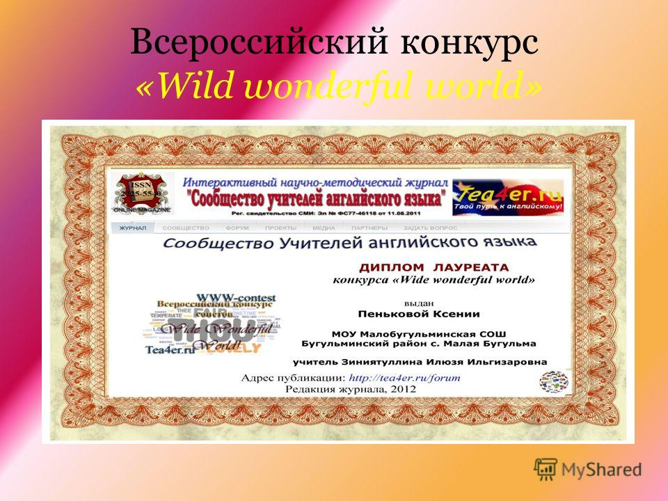 Всероссийский конкурс «Wild wonderful world»