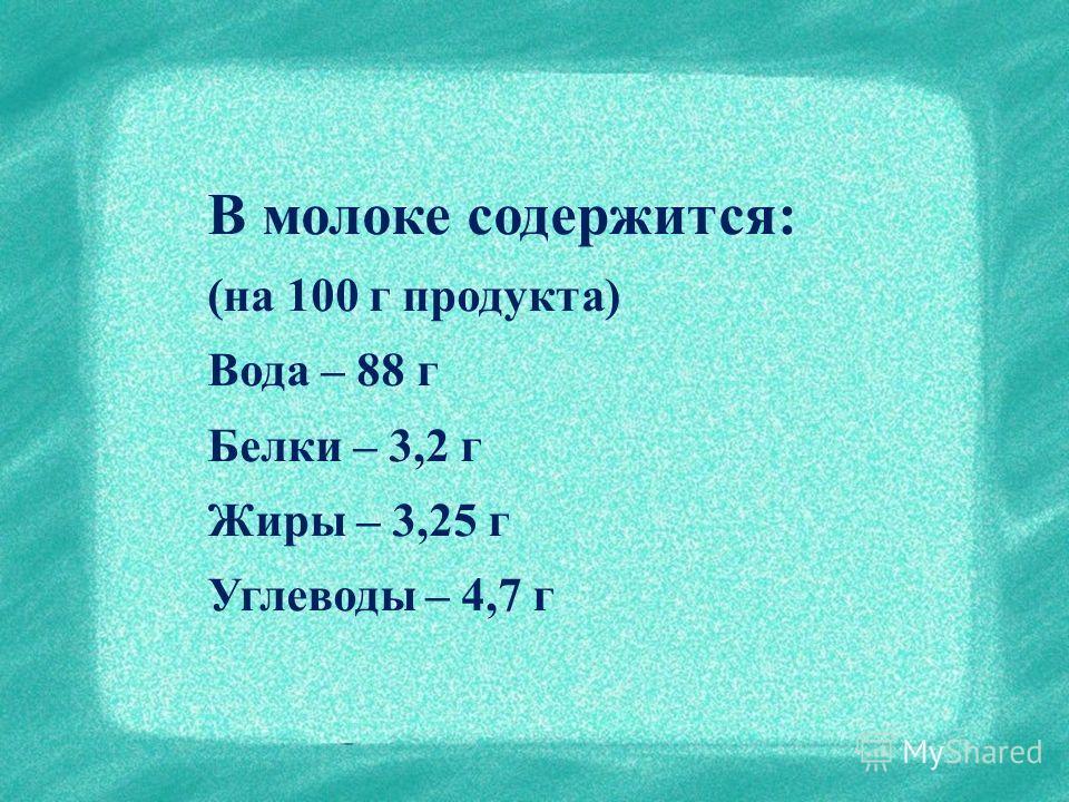 В молоке содержится: (на 100 г продукта) Вода – 88 г Белки – 3,2 г Жиры – 3,25 г Углеводы – 4,7 г
