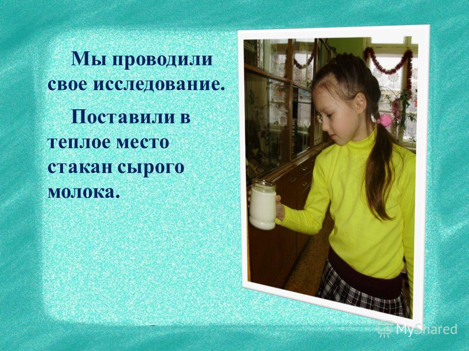 Мы проводили свое исследование. Поставили в теплое место стакан сырого молока.
