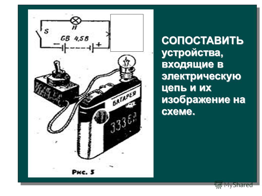СОПОСТАВИТЬ устройства, входящие в электрическую цепь и их изображение на схеме.