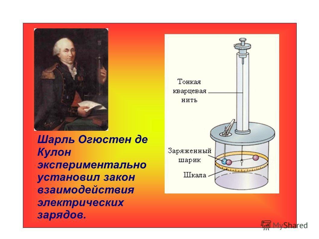 Шарль Огюстен де Кулон экспериментально установил закон взаимодействия электрических зарядов.