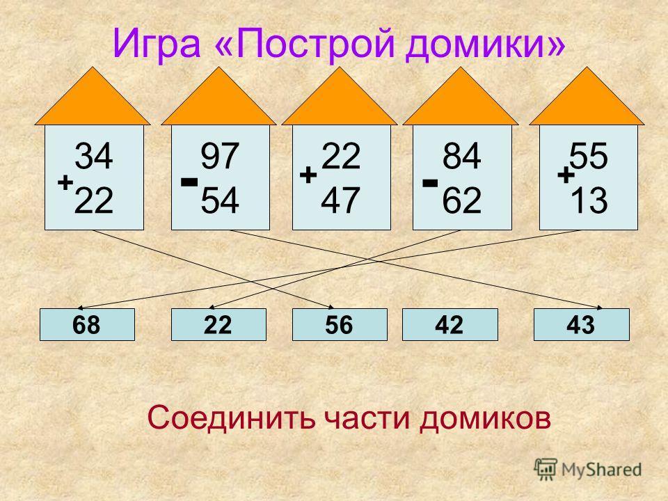 Игра «Построй домики» + 34 22 + 47 55 13 84 62 97 54 + - + - 6822564243 Соединить части домиков
