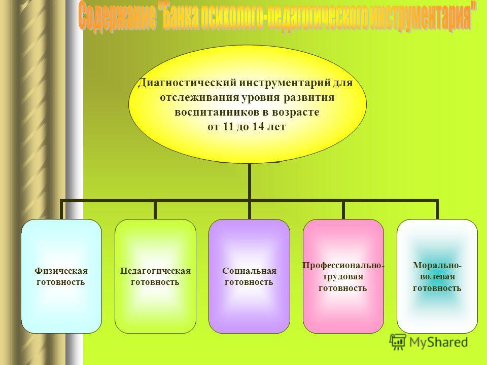 Физическая готовность Педагогическая готовность Социальная готовность Профессионально- трудовая готовность Морально- волевая готовность Диагностический инструментарий для отслеживания уровня развития воспитанников в возрасте от 11 до 14 лет