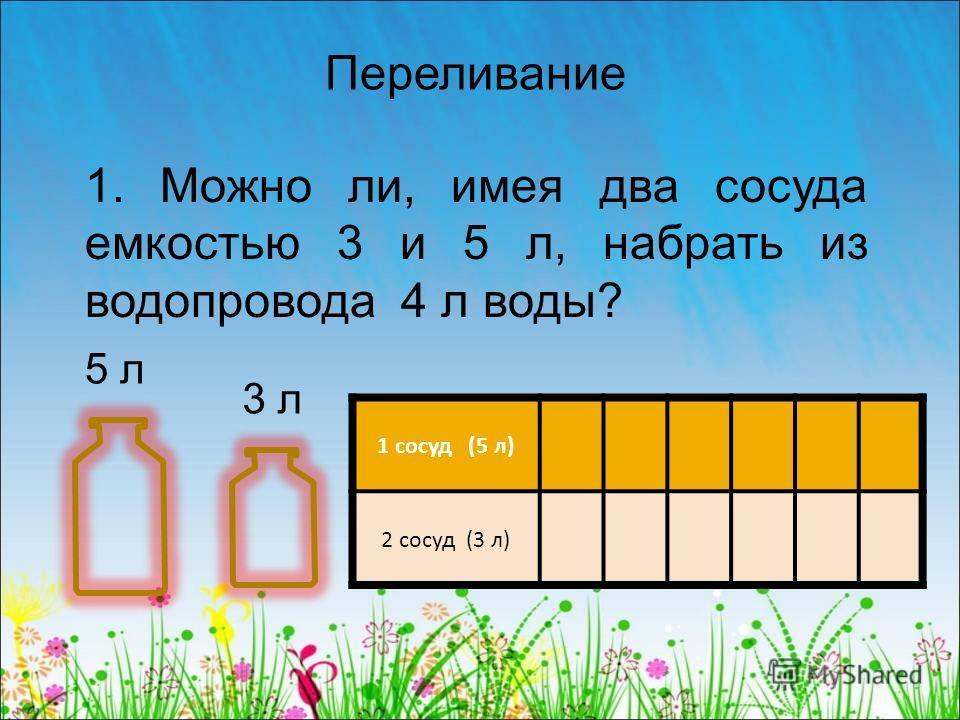 Переливание 1. Можно ли, имея два сосуда емкостью 3 и 5 л, набрать из водопровода 4 л воды? 5 л 3 л 1 сосуд (5 л) 2 сосуд (3 л)