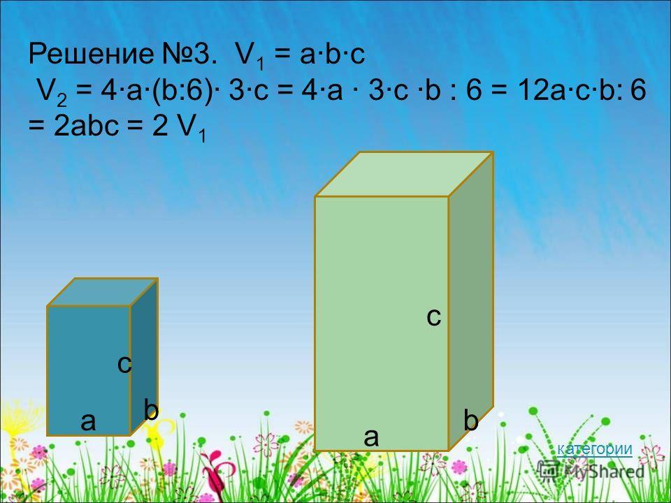 Решение 3. V 1 = a·b·c V 2 = 4·a·(b:6)· 3·c = 4·a · 3·c ·b : 6 = 12a·c·b: 6 = 2abc = 2 V 1 a b c a b c категории