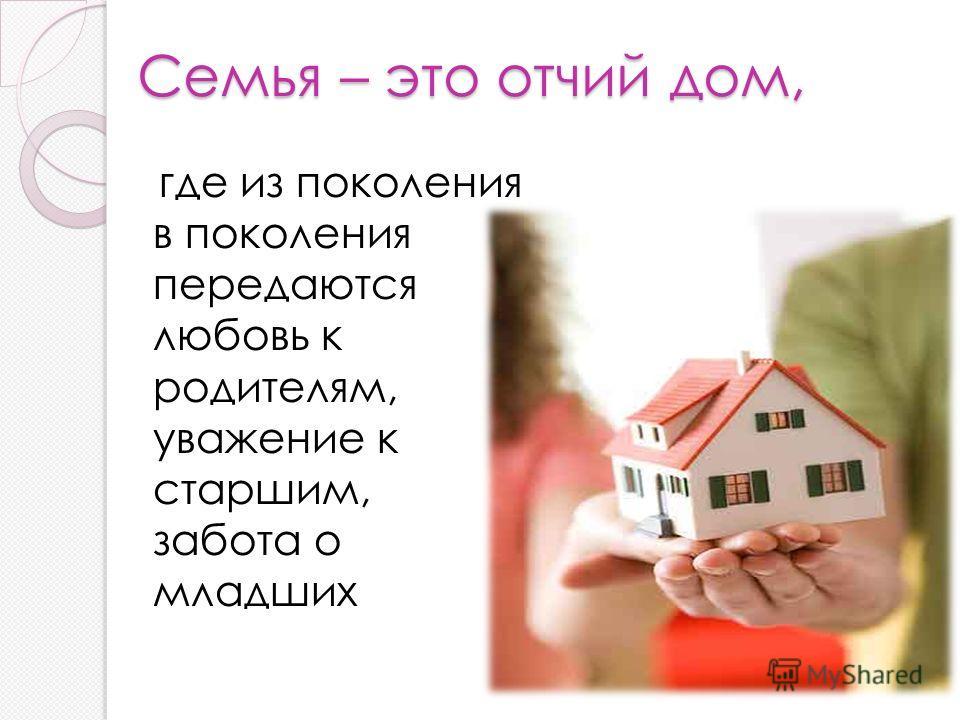 Семья – это отчий дом, где из поколения в поколения передаются любовь к родителям, уважение к старшим, забота о младших