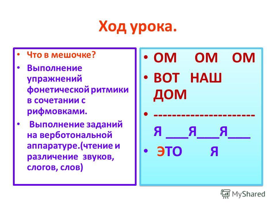 Ход урока. Что в мешочке? Выполнение упражнений фонетической ритмики в сочетании с рифмовками. Выполнение заданий на верботональной аппаратуре.(чтение и различение звуков, слогов, слов) ОМ ОМ ОМ ВОТ НАШ ДОМ ---------------------- Я ___Я___Я___ ЭТО Я