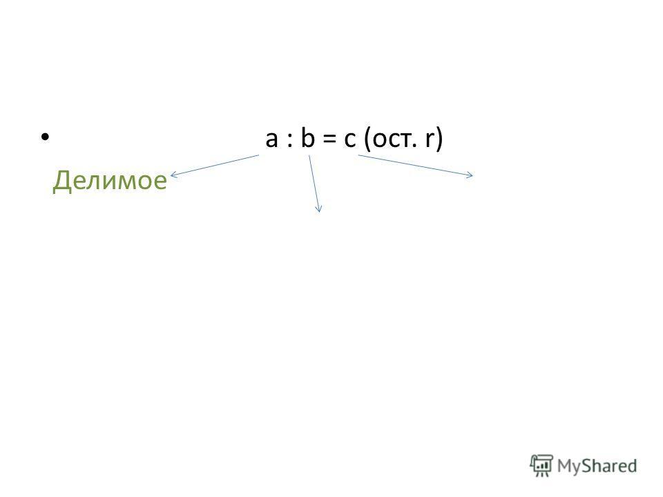 а : b = c (ост. r) Делимое