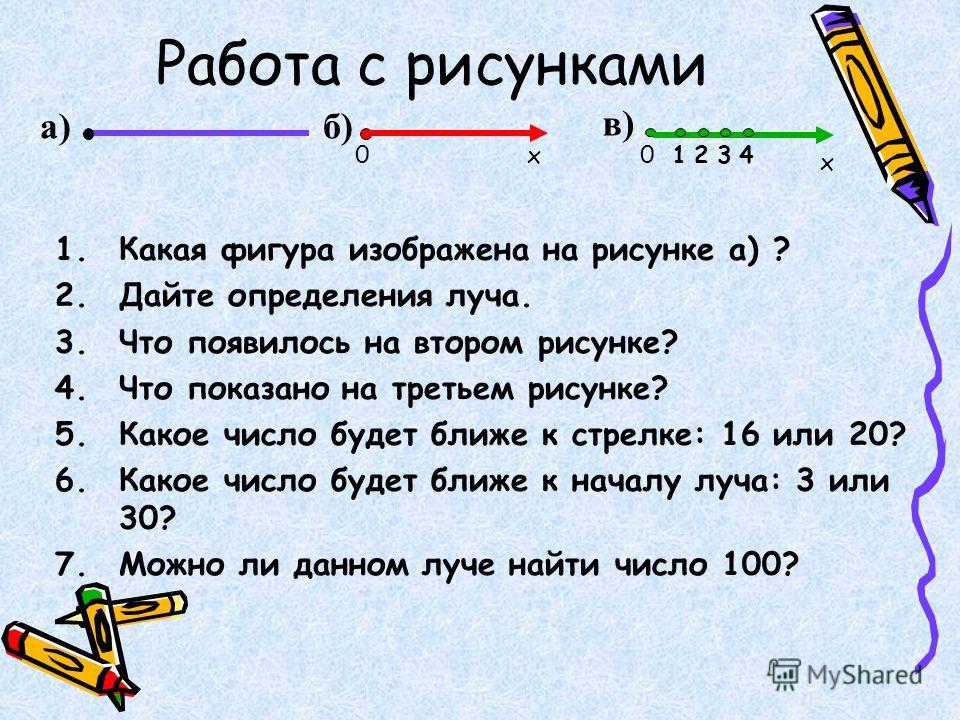 Работа с рисунками а) 1.Какая фигура изображена на рисунке а) ? 2.Дайте определения луча. 3.Что появилось на втором рисунке? 4.Что показано на третьем рисунке? 5.Какое число будет ближе к стрелке: 16 или 20? 6.Какое число будет ближе к началу луча: 3