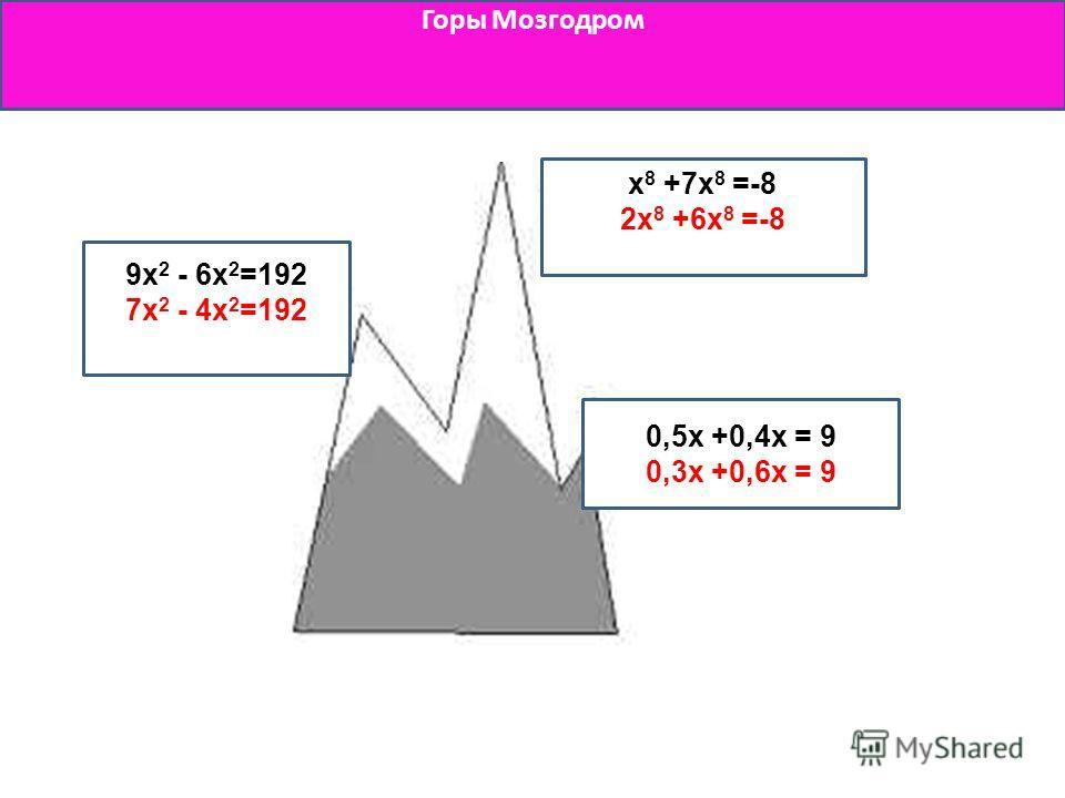 Горы Мозгодром x 8 +7x 8 =-8 2x 8 +6x 8 =-8 0,5x +0,4x = 9 0,3x +0,6x = 9 9x 2 - 6x 2 =192 7x 2 - 4x 2 =192
