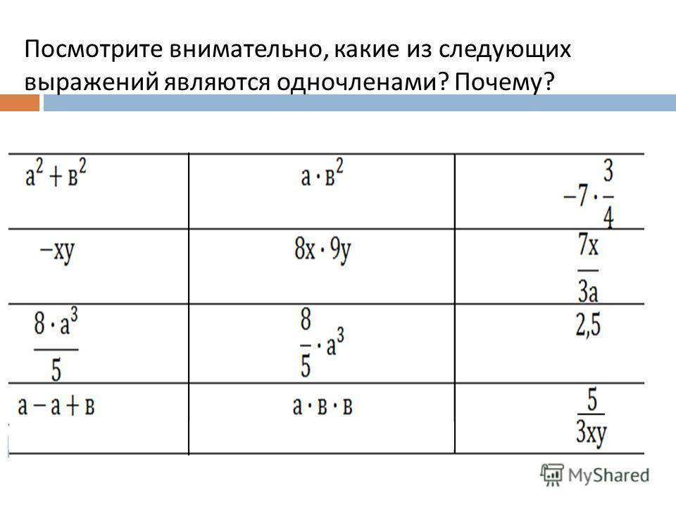 Посмотрите внимательно, какие из следующих выражений являются одночленами? Почему?