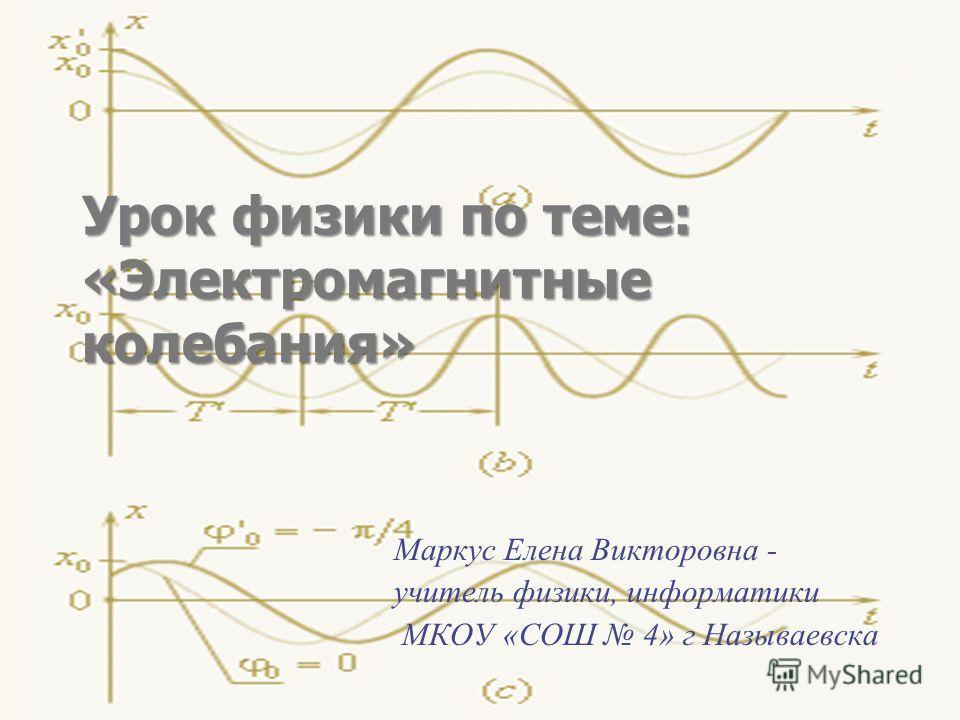 Урок физики по теме: «Электромагнитные колебания» Маркус Елена Викторовна - учитель физики, информатики МКОУ «СОШ 4» г Называевска