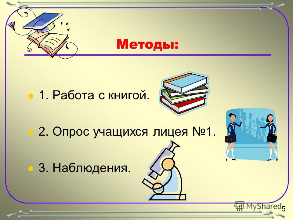 Методы: 1. Работа с книгой. 2. Опрос учащихся лицея 1. 3. Наблюдения. 5