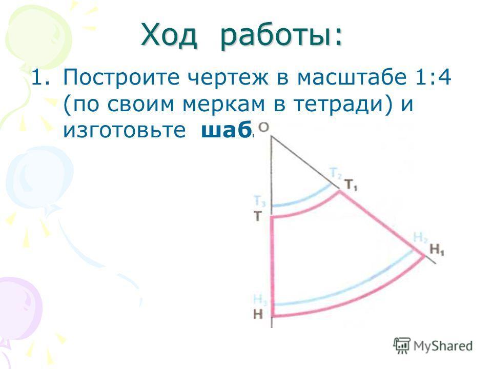 Ход работы: 1.Построите чертеж в масштабе 1:4 (по своим меркам в тетради) и изготовьте шаблон.