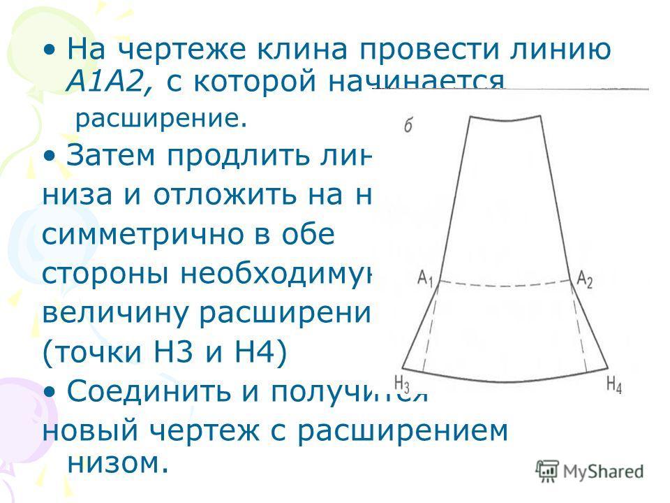 На чертеже клина провести линию А1А2, с которой начинается расширение. Затем продлить линию низа и отложить на ней симметрично в обе стороны необходимую величину расширения (точки Н3 и Н4) Соединить и получится новый чертеж с расширением низом.