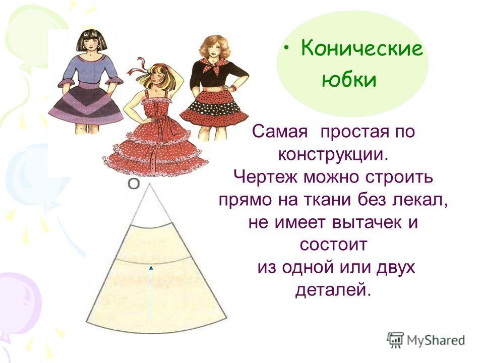 Конические юбки Самая простая по конструкции. Чертеж можно строить прямо на ткани без лекал, не имеет вытачек и состоит из одной или двух деталей.